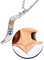 Kreative Anhänger mit Halskette Regenbogen Kristall Glas Blitz LGBT Schmuck