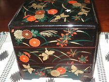 Japanese Lacquered Floral Butterfly Bento Lunch 3 Tier Stacking Box and Lid MMA