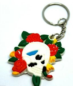 Flower Skull Head Goth Rubber KeyChain Keyring Key Ring Bags Wallet UK