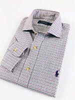 Polo Ralph Lauren Shirt Men's Twill Purple Multi Checks Spread Collar