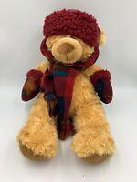 "Hugfun Int'l Winter Teddy Bear Plush Brown 19"" Scarf Mittens Hat Stuffed Animal"