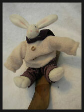 "boyds rabbit on skies 9"" thisk wooly coat corduroy pants with scarf"