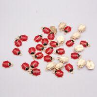 10Pcs Cute Ladybug Enamel Charm Alloy Pendant DIY Craft Earrings Necklace Making