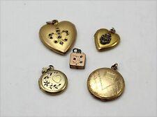 Assortment of 5 Gold Tone Locket Pendants