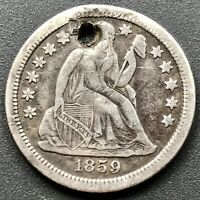 1859 S Seated Liberty Dime 10c San Francisco RARE Key Date XF Details #6409
