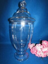 Vtg Tall Clear Hand Blown Glass Apothecary Drug Store Candy Jar With Lid 18.5""