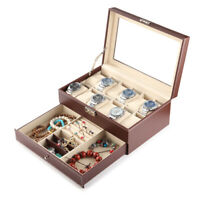Mens 17 Grid Leather Watch Display Case Jewellery Collection Storage Holder Box