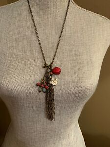 lenny eva jewelry Tassel Necklace~With 3 Added Charms~Antique Brass