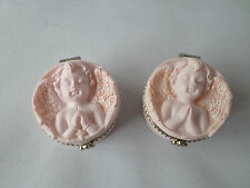 Pair of Cherub Angel Trinket-Pill Boxes