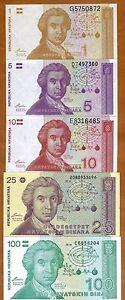 SET Croatia, 1-5-10-25-100 Dinara, 1991, P-16-17-18-19-20, UNC