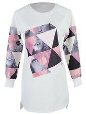 Women S/M Fit White Break Up Triangle Tiles Super Model Face Sweater Dress