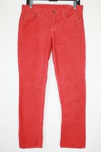 J.CREW City Fit Corduroy Straight Cut Jeans Coral Pink Women's 28 S Ankle