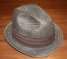 "Mens Vintage Brown De Pere Park Straw Fedora Hat 2"" Brown Ribbon Size 6 7/8 exc"