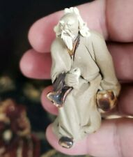 "Chinese mud man bonsai figurine 3/"" unglazed saipan with fisherman"