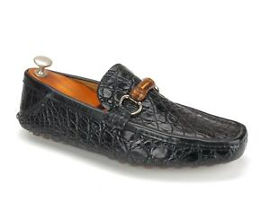 New Gucci Black Crocodile Skin Bamboo Horsebit Driving Mocs 8.5 D US