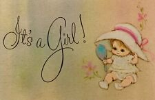 Set 3 It's a Girl Pink Vintage American Greetings Birth Announcement Cards 1973