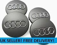 4 x GREY AUDI CENTRE CAPS 60mm alloy wheel Badges RS4 S3 S4 A3 A4 A6 A8 TT