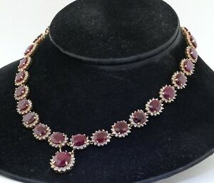 Heavy 14K yellow gold 117.88CT diamond & ruby formal necklace w/ box