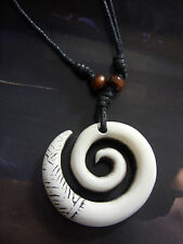 A Ivory Coloured Large Swirl Charm  ( 45mm ) Pendant Necklace Tribal, Surf,