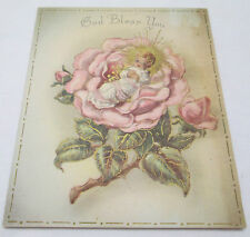 Vintage Christmas Greeting Card God Bless May The Rose of Christmastide Bloom
