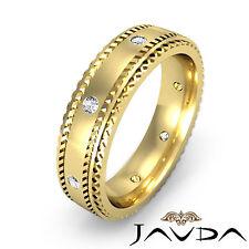 Round Bezel Diamond Men Band 18k Yellow Gold Eternity Wedding Solid Ring 0.15Ct