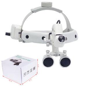 3.5X Medical Surgical Dental Binocular Loupes Headband Magnifier LED Headlight