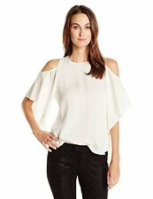 NWT Halston Heritage Cold Shoulder 100% Silk Blouse in Chalk Size 8
