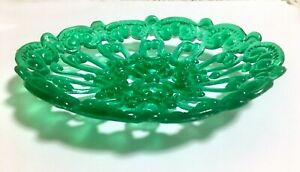 VTG Lightfoot Soapmakers Green Resin Oval Floral/Scroll Pattern Soap Dish w/Feet