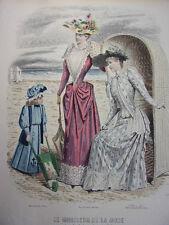 """50/ GRAVURE DE MODE """" Moniteur de la Mode Paris 1891 """".   Grand format 36x26"""