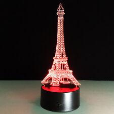 3D Nuit Lumière Lampe Sept Couleur Tour Eiffel Paris France Table Maison Décor