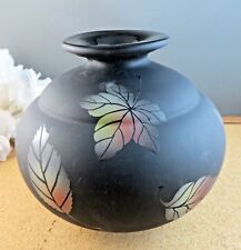 Fenton Glass Black Matte Fall Leaf Iridescent Leaves Vase