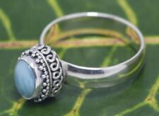 Handmade Sterling Silver .925 Oval Bali Solitaire Ring w Larimar, Sz 7.5