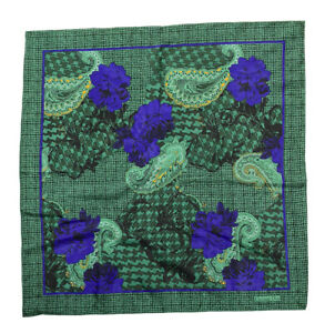 CHRISTIAN DIOR GREEN SCARF 100%SILK FLORAL&PAILSEY 30''/31'' EXCELLENT CONDITION