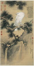 Chinese old painting on silk White eagle by Lang ShiNing/Giuseppe Castiglione