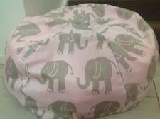 KIDS BEANBAG PINK WITH GREY ELEPHANTS GIRLS BEDROOM BEAN BAG LOUNGE RUMPUS ROOM