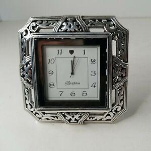 """Brighton Tango Square Desk Clock 4"""" x 4"""" Silver Plated Swivel Stand Style G20030"""