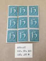 Lot of 9 Stamp Germany Reich Mi 160 Sc 139 1921Number Rectangle Deutsches Empire