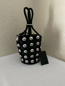 New Alexander Wang Roxy Mini Cage Black Suede Studded Bucket Bag