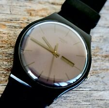 SWATCH New Gent Watch BLACK Rebel SUOB702 WORKS GREAT Mint Condition