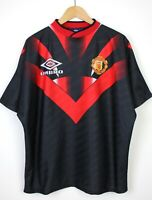 Manchester United Vintage 1994-95 Short Sleeve Black Red Training Top Shirt - XL