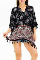 Women's Chiffon Boho Sleeveless Paisley Throw-Over Cover Up Poncho Kimono Blouse