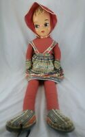 "Vintage Plastic Face Bonnet Soft Body Doll Southwest Print Muslin Dress 36"" Tall"