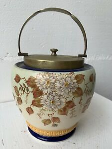 Edwardian biscuit barrel (ceramic) with floral decoration, brass lid and handle