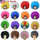 US CURLY AFRO FANCY DRESS WIGS FUNKY DISCO CLOWN STYLE MENS/LADIES COSTUME HAIR