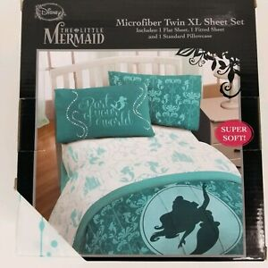 Disney The Little Mermaid Microfiber Twin XL Green Sheet Set Part Of Your World
