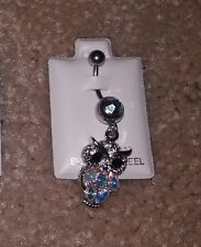 With Dangling Owl of Gems, Adorable! New Belly Button Ring 316L Surgical Steel