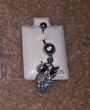 New Belly Button Ring 316L Surgical Steel With Dangling Owl of Gems, ADORABLE!