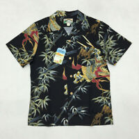 BOB DONG Dragon Bamboo Pattern 'Aloha' Hawaiian Shirts For Men Camp Collar Black