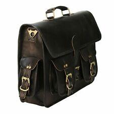 """18"""" Men's Handmade Black Leather Messenger Shoulder Bag Laptop Briefcase Travel"""