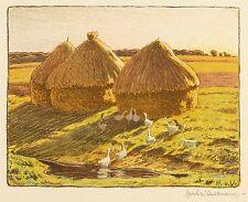 HANS RICHARD VON VOLKMANN - Gänseherde am Bach - Farblithografie 1905